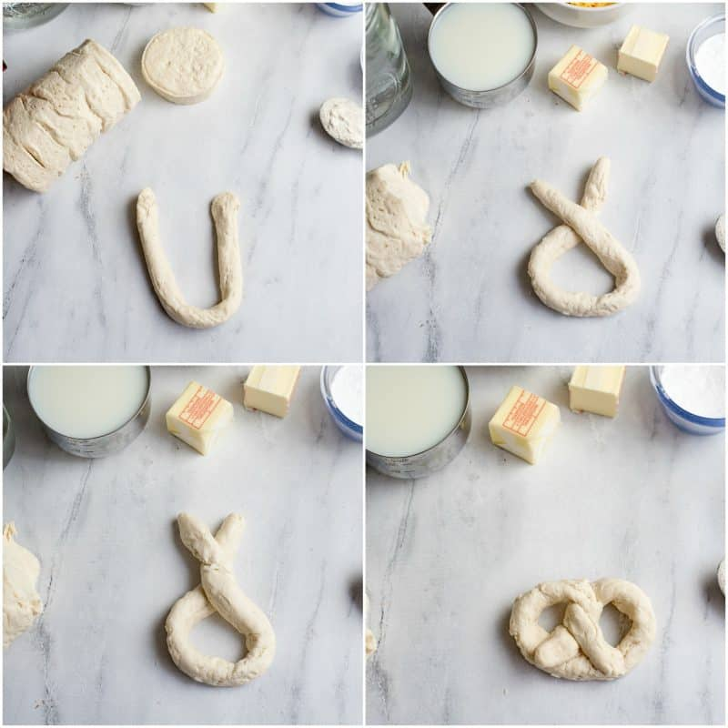 How to form a biscuit pretzel