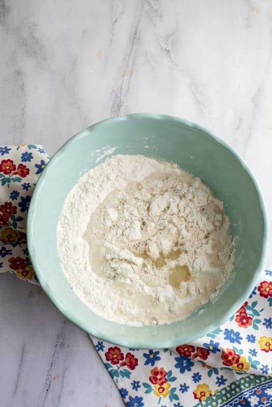 mixing dough for tortillas