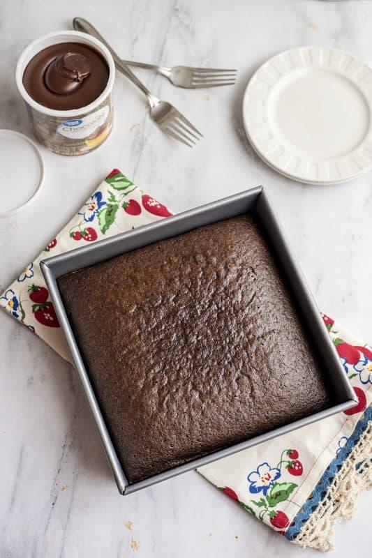 Baked Chocolate Depression Wacky Cake