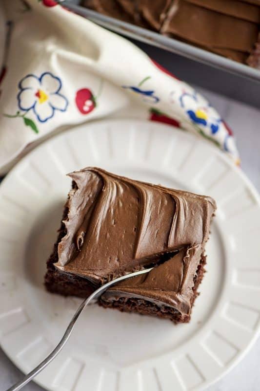 Fork Cutting Into Chocolate Depression Wacky Cake