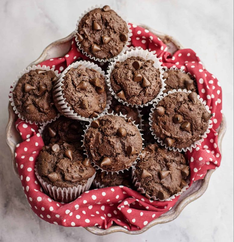 basket of Double Chocolate Chip Muffins
