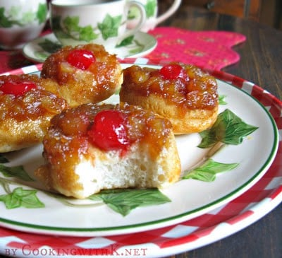 Pineapple Upside Down Biscuits on a plate