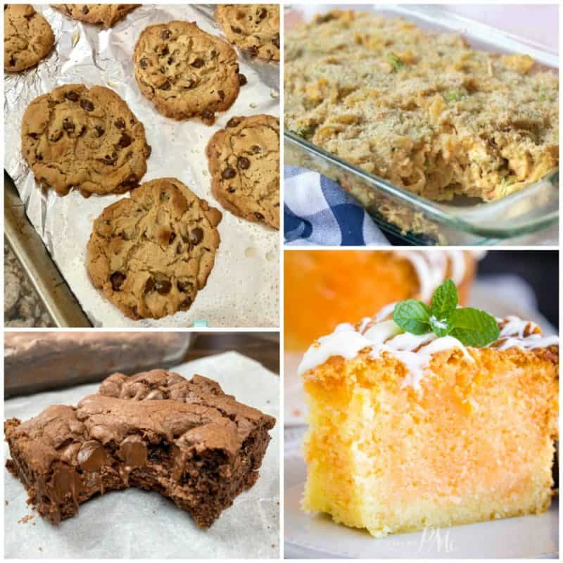 Meal Plan Monday Features, cookies, casserole, orange cake, and brownie