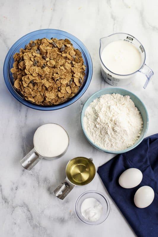 ingredients for raisin bran muffins