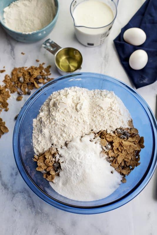 raisin bran muffins ingredients in bowl