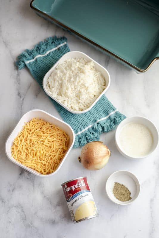 Ingredients for cheesy hash brown casserole