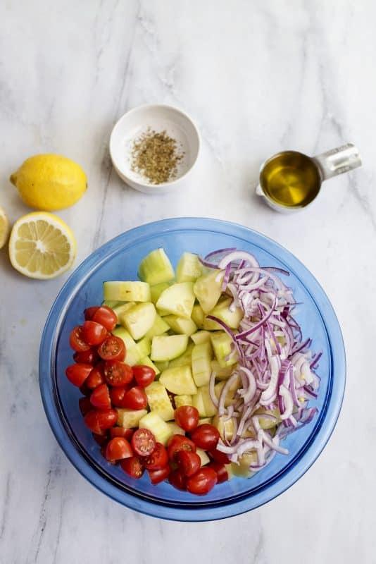 Preparing Greek Cucumber Salad- Healthy and Guilt Free!