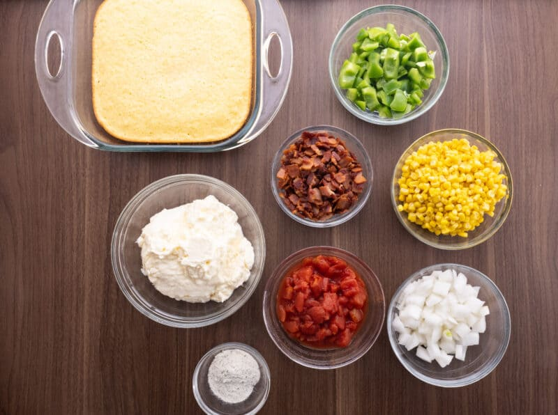 Recipe ingredients for cornbread salad.