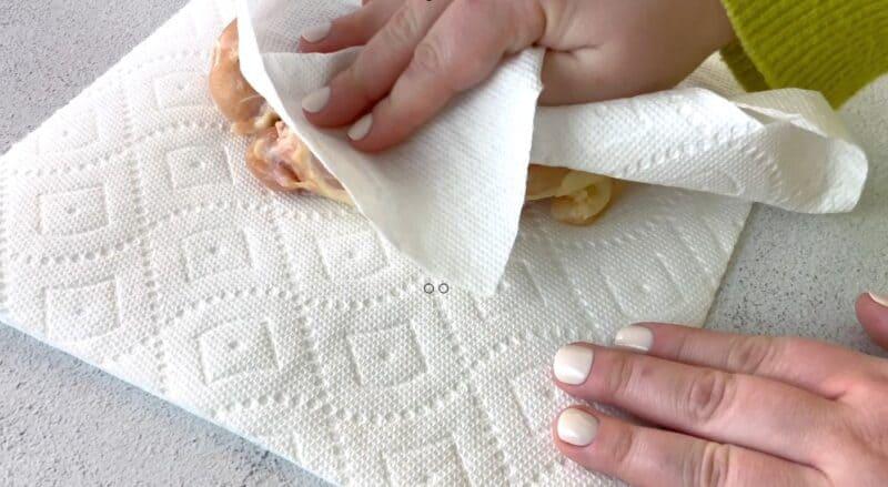 Ritz Cracker Chicken pat down chicken breasts