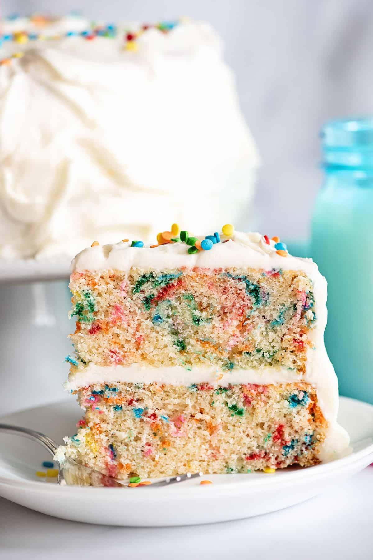 slice of easy birthday cake