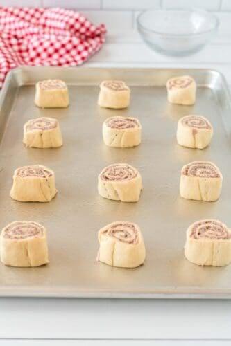 Pinwheels on baking tray.