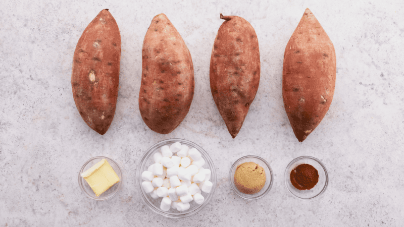 Ingredients for loaded sweet potatoes.