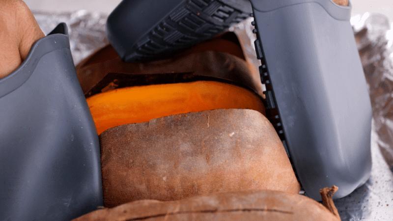 Open sliced sweet potatoes.