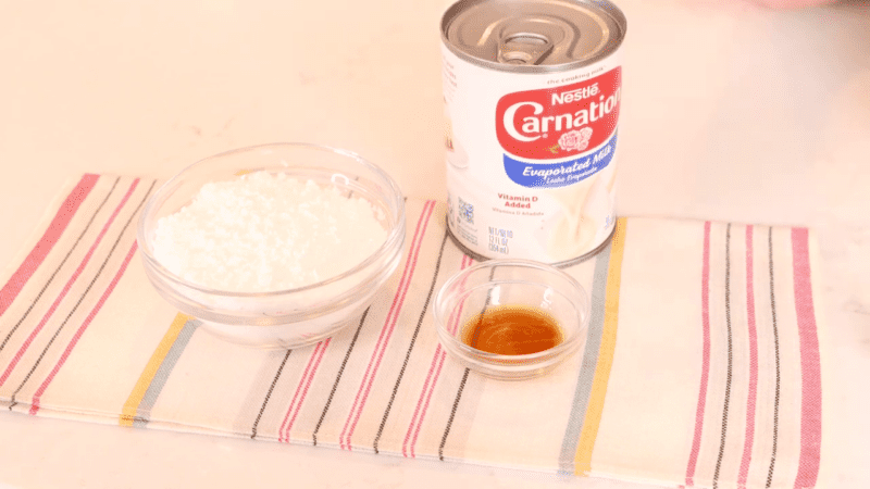 Recipe ingredients for homemade whipped cream.