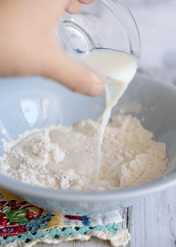 stir in milk vinegar dumplings dough