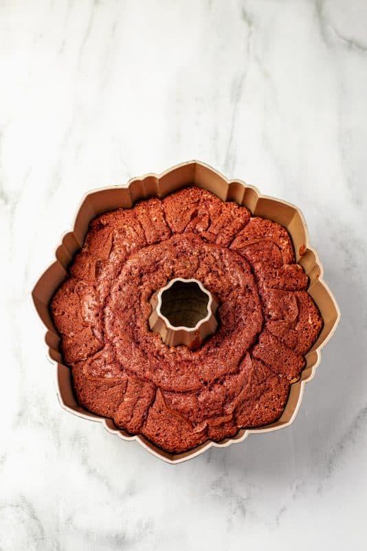 baked red velvet bundt cake