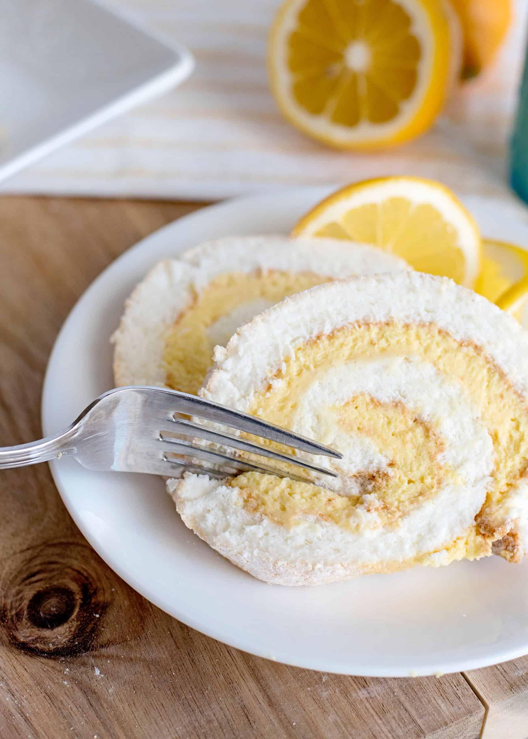 Lemon Angel Food Cake Slice
