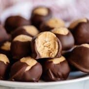 chocolate peanut butter balls hero
