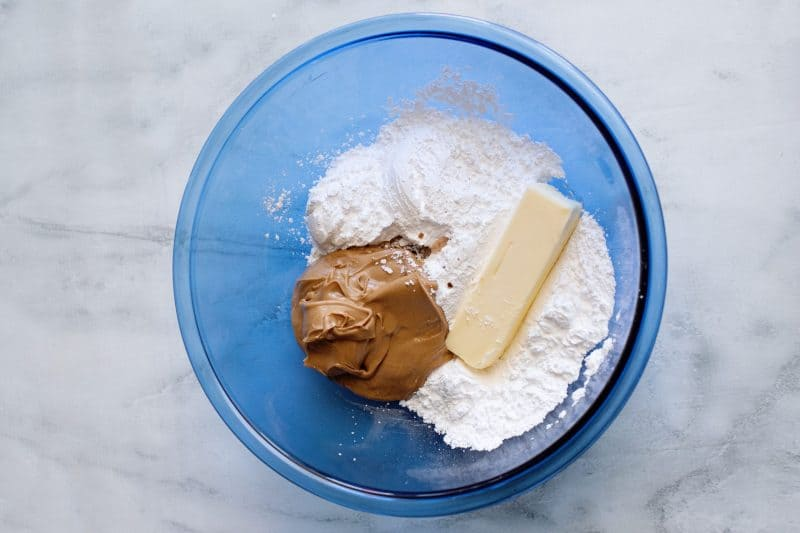 combine peanut butter ball ingredients