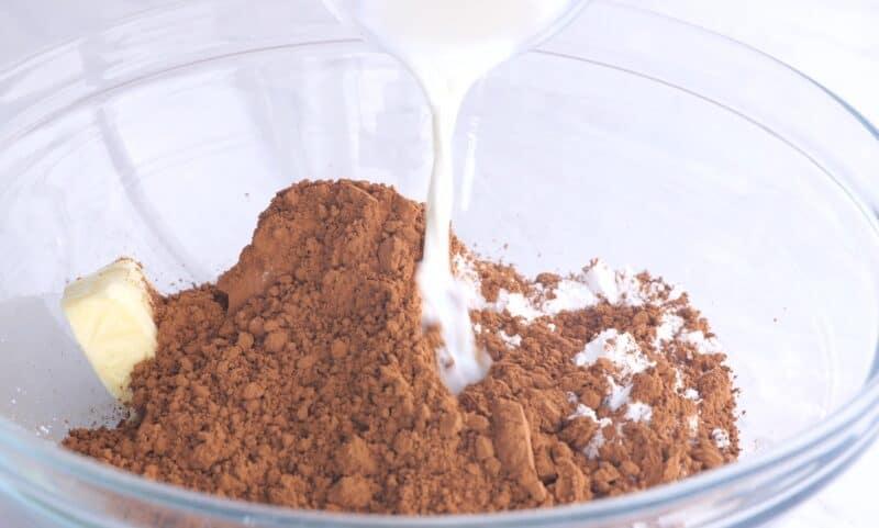 add in the cocoa and milk