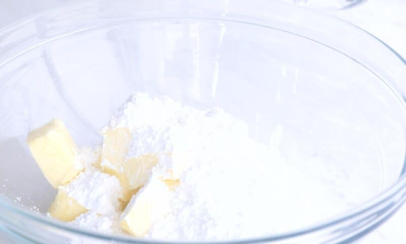 place butter and sugar