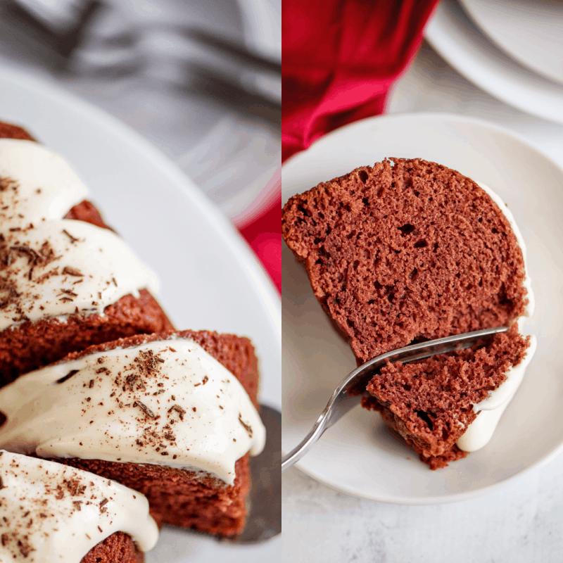 red velvet bundt cake slices