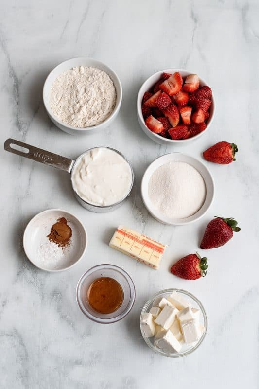 ingredients for cream cheese strawberry cobbler