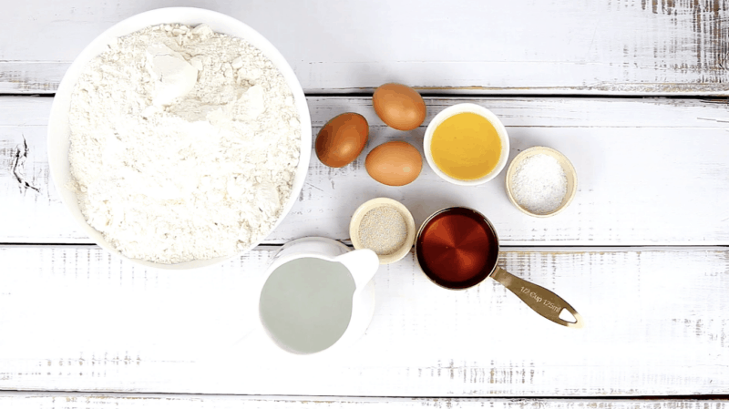 Challah bread ingredient yeast, bread flour, honey, eggs, water, olive oil, salt