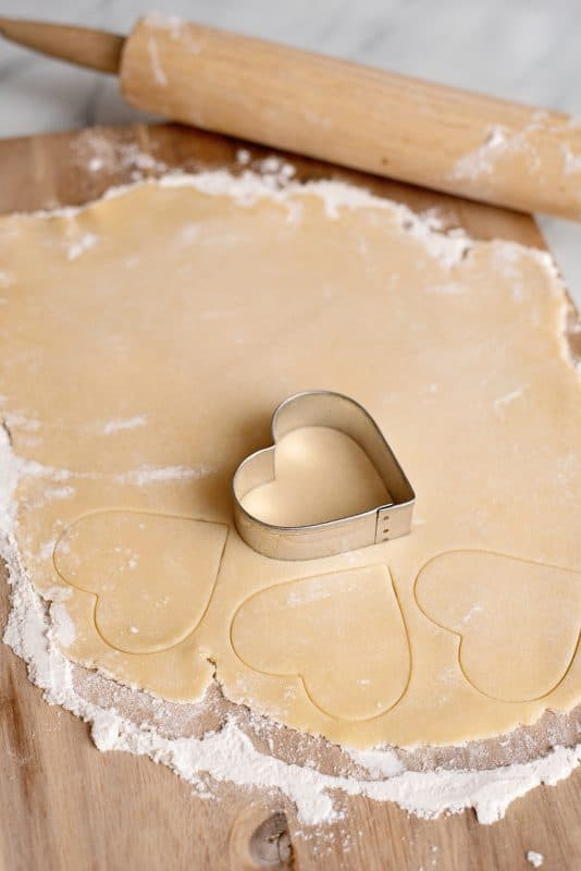 cut out Heart shaped sugar cookies