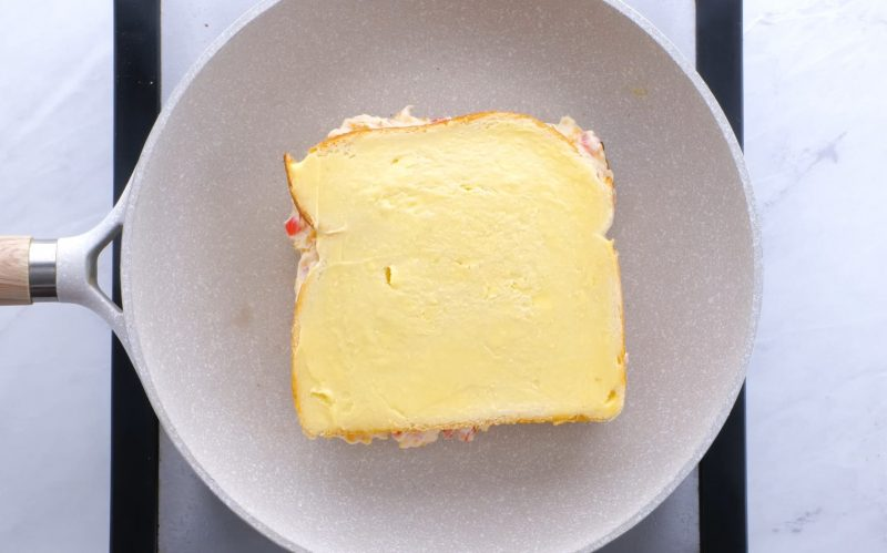 Pimento cheese bread buttered for grilled cheese