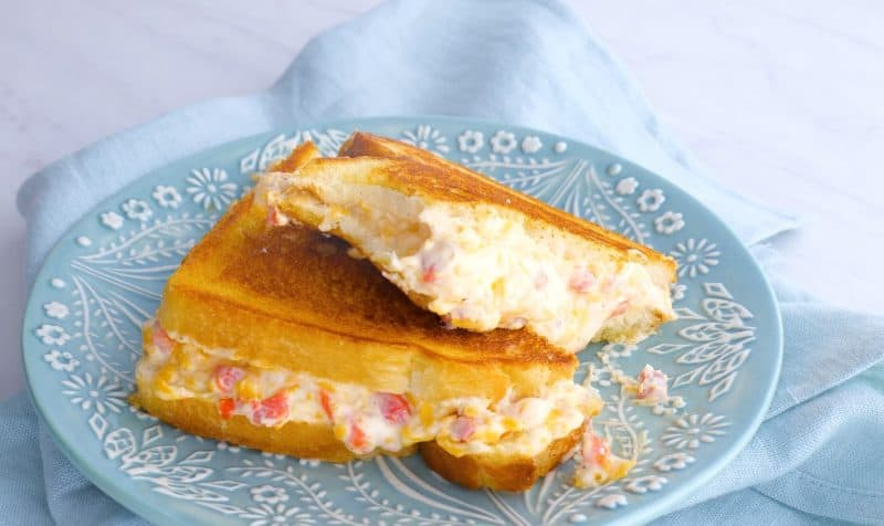 BIte out of Pimento cheese sandwich