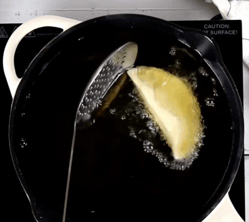 put an inch of oil in medium sauce pan while you are making the dough on medium heat