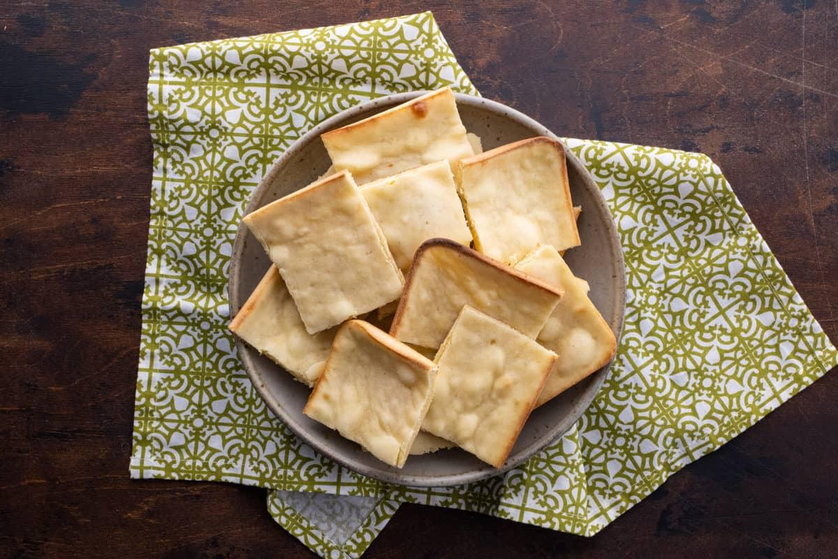 Bowl of unleavened bread pieces.