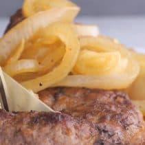 Hamburger steaks close up