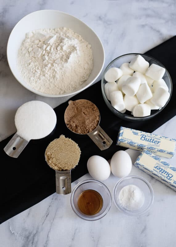 Ingredients for Chocolate Cookies with Marshmallow