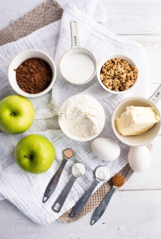 ingredients for apple brownies on a counter