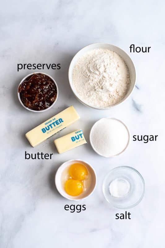 Recipe ingredients jam butter sugar eggs flour salt