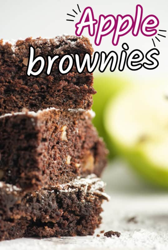 apple brownies stacked on top of each other