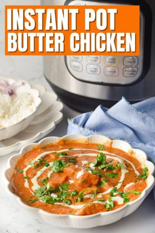Butter Chicken  in a bowl with instant pot behind it