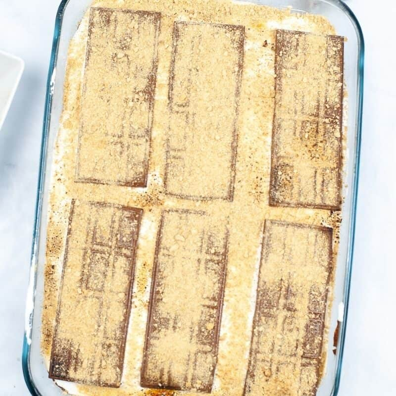 cake in pan with graham cracker crumbs all over the top