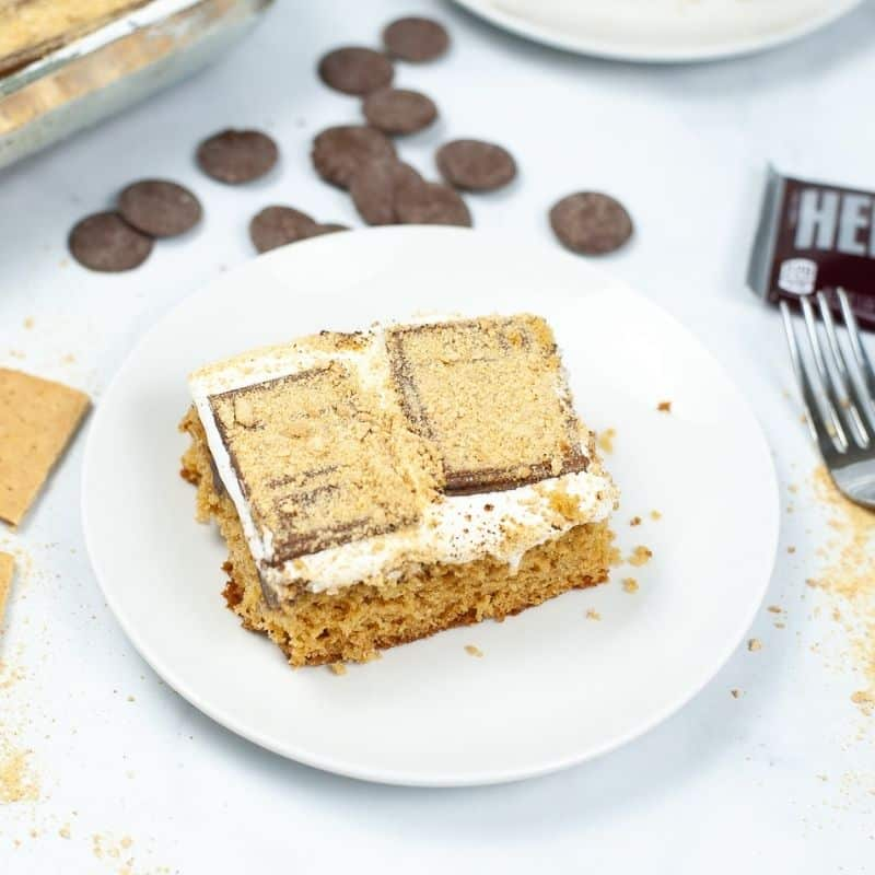 smores cake on a plate with chocolate behind it