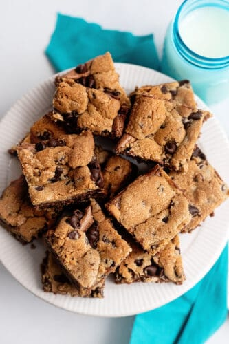 Plate filled with chocolate chip cheesecake bars