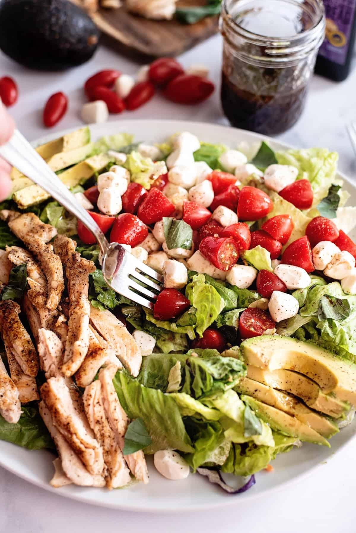 caprese salad with avocado chicken balsamic dressing