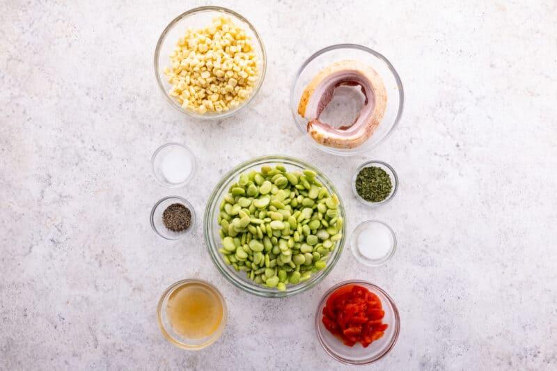 Recipe ingredients for succotash.