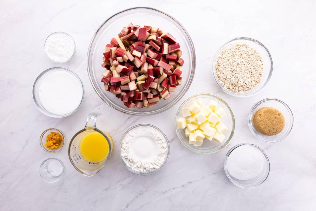 Flat lay of rhubarb crisp ingredients