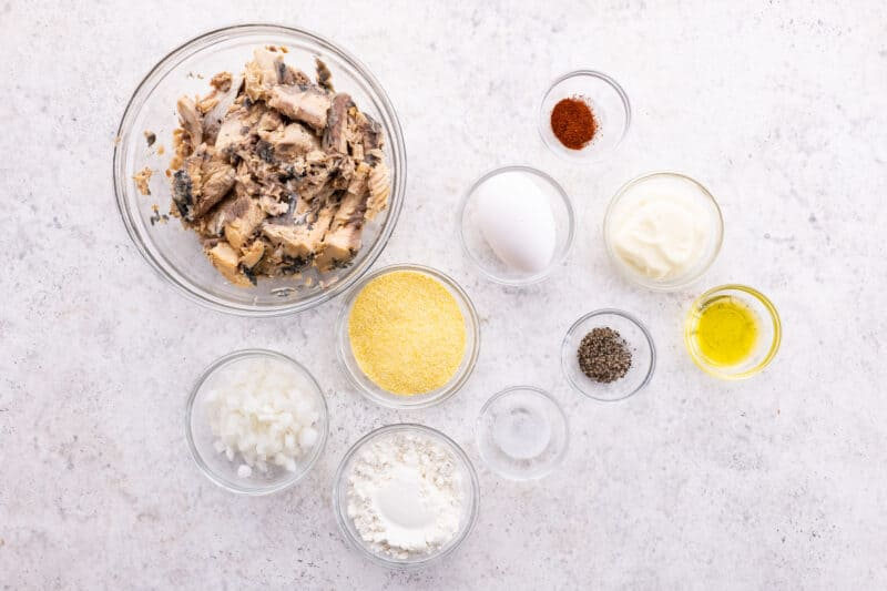 Flat lay of ingredients or southern salmon patties