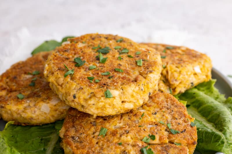 Close up of stack of fried Southern salmon patties.