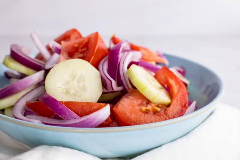 Tomato, onion, and cucumber salad