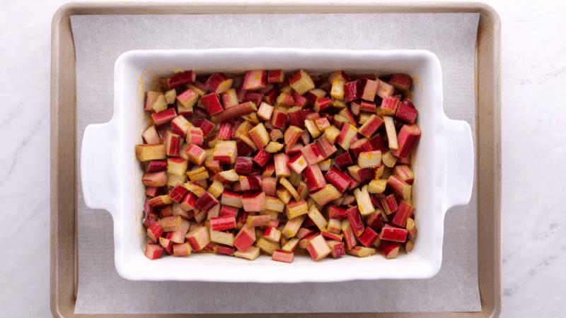 Rhubarb in a baking dish.