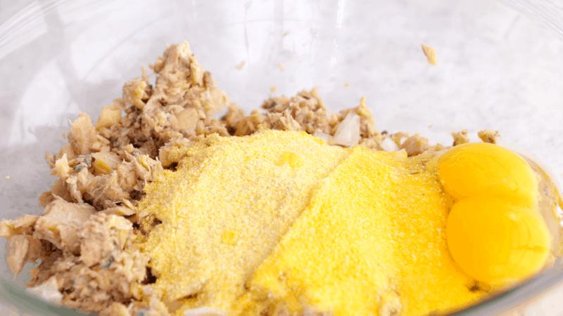 Ingredients for salmon patties in bowl